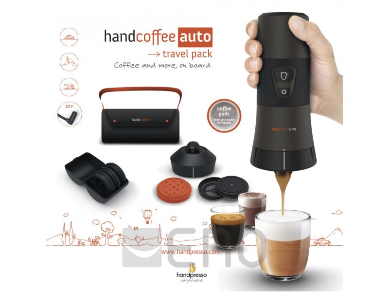 handcoffee auto mobile kaffeemaschine f r kaffeepads 12v travel pack schwarz. Black Bedroom Furniture Sets. Home Design Ideas