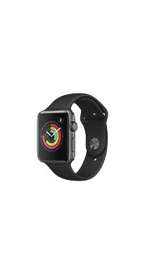 Apple Watch Series 3 GPS 42 mm Aluminiumgehäuse spacegrau, Sportarmband schwarz